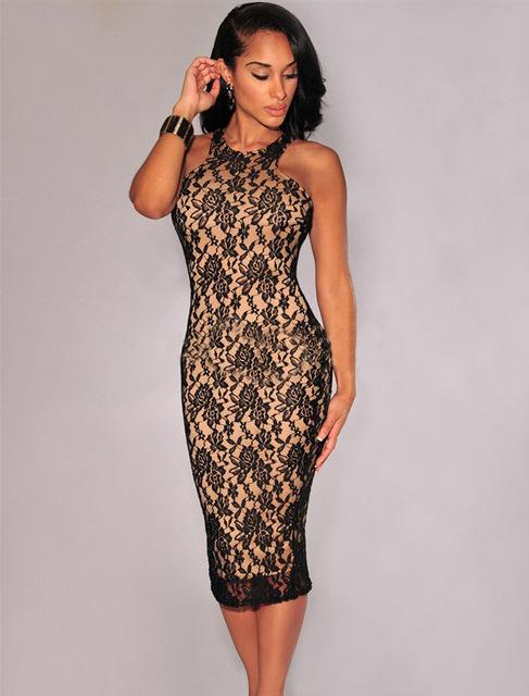 R80016 без рукавов сплошной лето платье кружево с круглым вырезом платье сексуальный bodycon платье