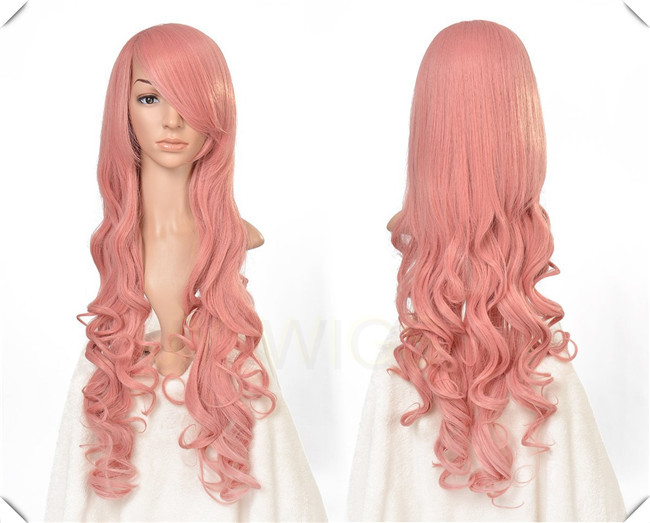 80CM 15COLORS 32Inches PINK Long Curly Cosplay Wigs Lady Wavy Wigs Free Shipping Gifted Free Wig Cap(China (Mainland))