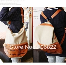 New Women's Faux Leather Canvas Hobo Backpack Words Satchel Shoulder Bag(China (Mainland))