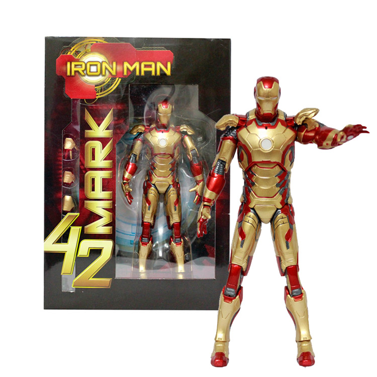 Marvel Avengers Stark Iron Man 3 Mark VII MK 42 PVC Action Figure Collectible Model Toys 18cm KT396