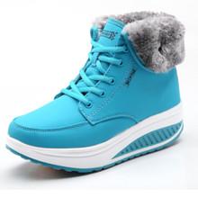 Nueva marca 2015 zapatos invierno de tacón de cuña elevada High top moda Casual cálido plataforma pivotar los zapatos del tobillo de moda botas de nieve(China (Mainland))