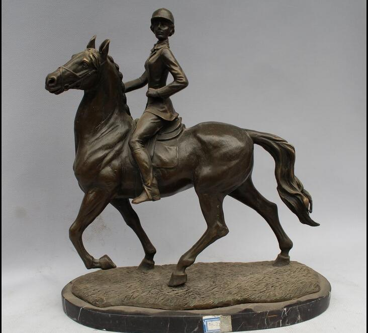 """12""""Western Art sculpture Pure Bronze Marble Bell Girl Seat horse racing Statue(China (Mainland))"""