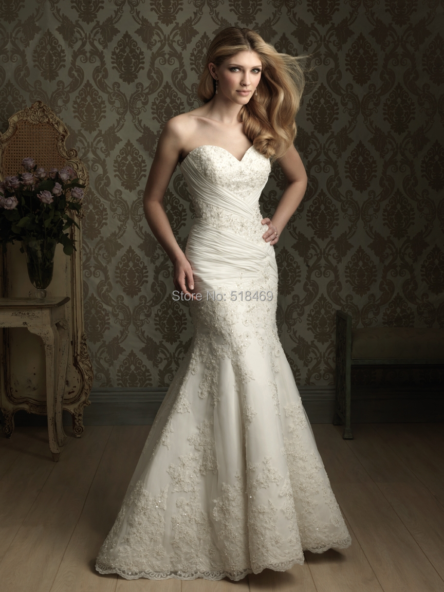 2014 new arrival beautiful sexy mermaid sweetheart for Satin sweetheart mermaid wedding dress