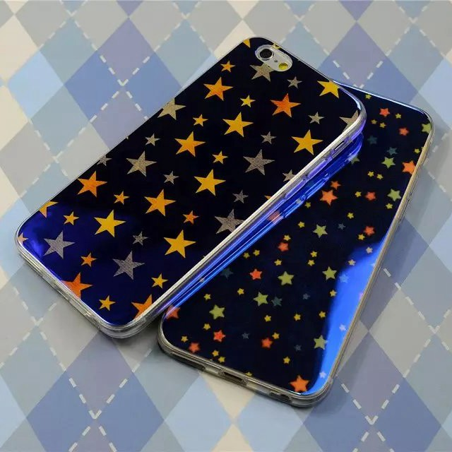 Blue Light TPU Phone Case For Apple IPhone 6 / 6 Plus Colorful Star Soft Back Cover For Iphone 6 4.7 / 5.5 inch Beauty Case(China (Mainland))