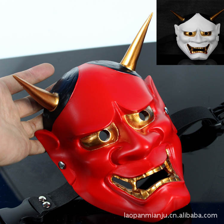 Cherished Red Japanes Hannya Mask Japan Ghost Prajna Dance Masquerade Park Halloween Carnival Resin Mask(China (Mainland))