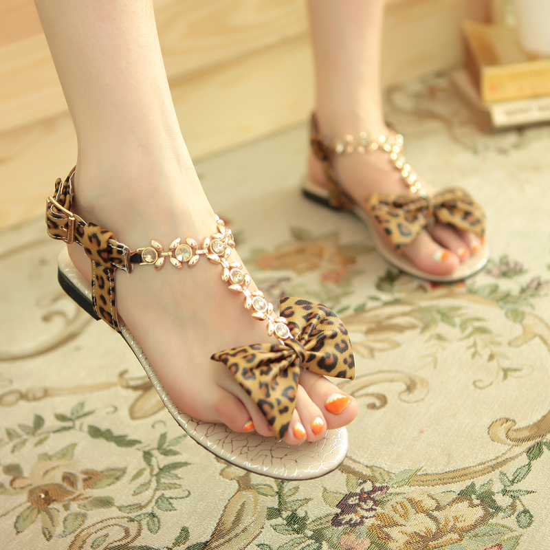 2016 Casual Flat Sandals Leopard Print Bow Flower Flat Heel Strap Maternity Female Shoes(China (Mainland))