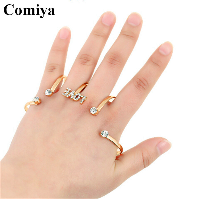 Wire full finger knuckle crystal letter love big designer unique best friends luxury lady assessories natural lowest price ring(China (Mainland))