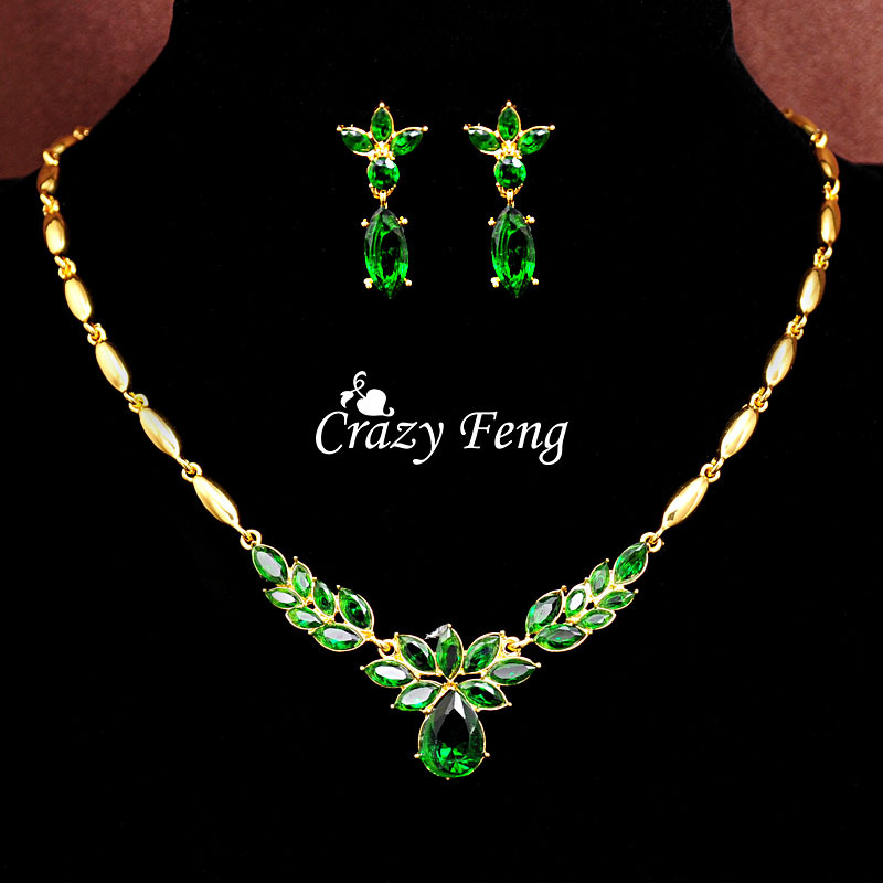 Women's Fashion 18k Yellow Gold Filled CZ Diamond 3 colors Necklace+Earrings Flower Wedding Jewelry Sets Free shipping(China (Mainland))