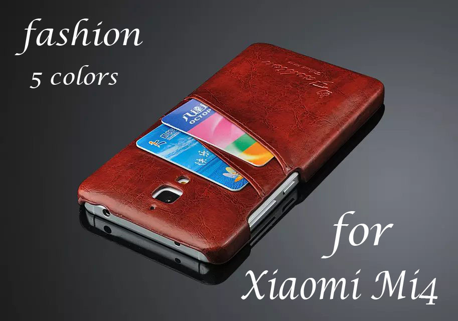 Luxury Retro PU Leather Back Case Xiaomi Mi4 M4 Phone Cover Bag Card Holder Item Fashion Logo - Win-Win International Trading Co.,Ltd store