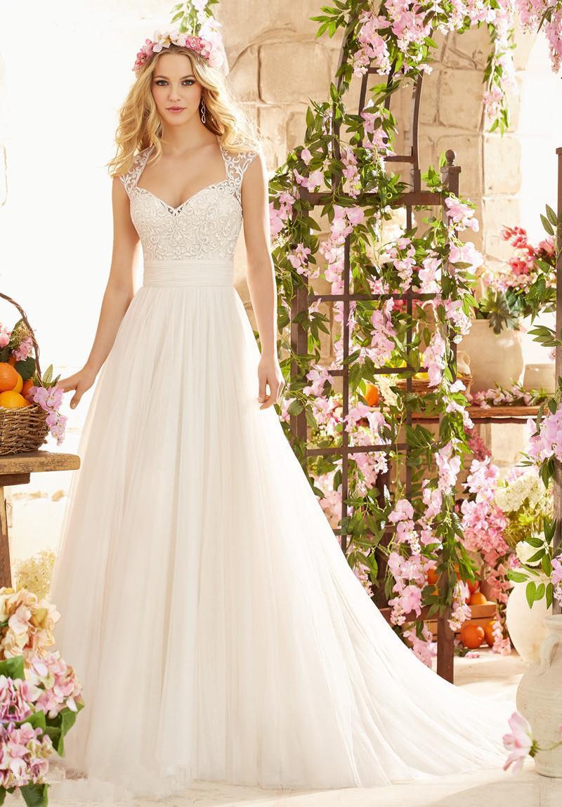 Wedding Dress Casamento A line Cap Sleeves Robe De Mariage Vintage ...