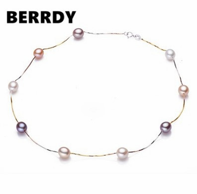 925 Sterling Silver Pearl Necklace, 8-9mm Big Size Natural Pearl Jewellery for Charm Lady(China (Mainland))