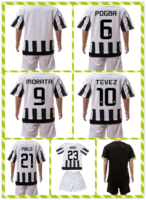 New Product Uniforms Kit POGBA MORATA TEVEZ White Black Strip 2015-2016 VIDAL PIRLO Soccer Jersey Home Youth Kids Full Shirt(China (Mainland))