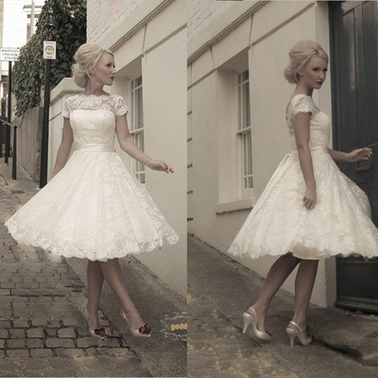 Bridal Gowns: knee-length bridal gowns