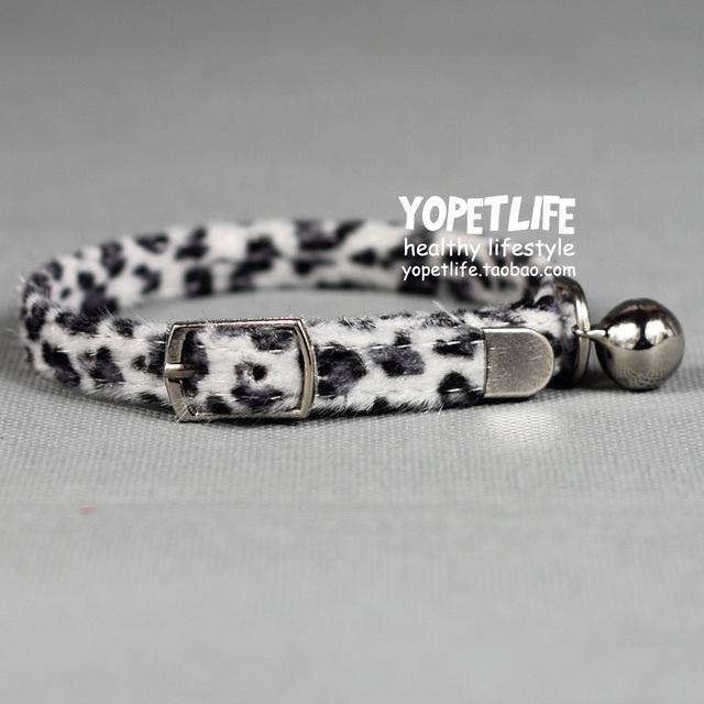 Plush leopard print cat collar cat bell collar pet collar small dogs collar Free shipping