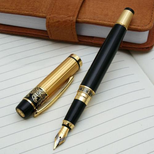 Гаджет  2015 New 901 Hero  Fountain Pen Meduim Nib Metal Plastic Golden Black Color Sign Pens  5DOD None Офисные и Школьные принадлежности