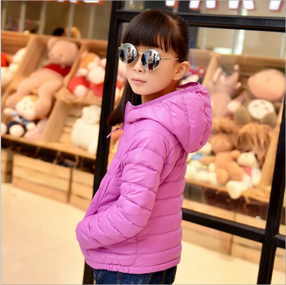 High Quality 2015 Children White Duck Down Jacket Girls Fashion Solid Hooded Light Down Coat Kids Autumn Winters Outerwear Y671<br><br>Aliexpress