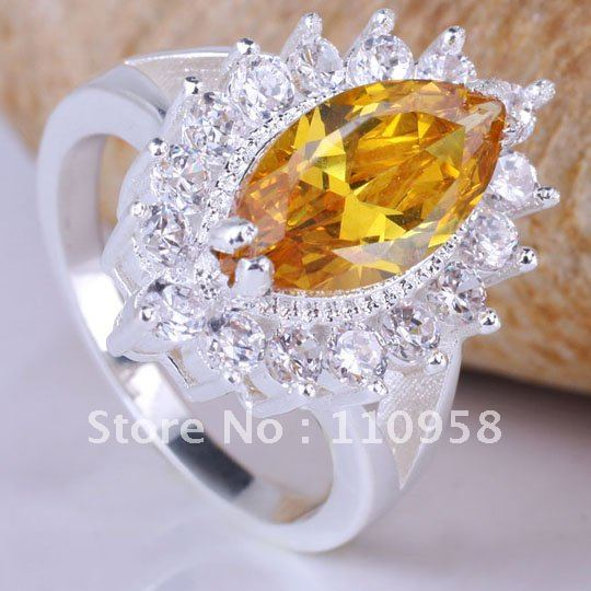 Bulk Lots 6PCS Women 7x14 Marquise Golden Citrine Cocktail Silver Rings JV7284 Size 7 YIN Wholesale Price Order(China (Mainland))