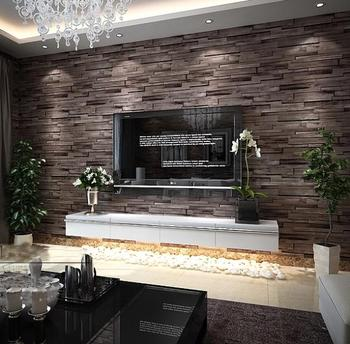 New 3d luxury wood blocks effect brown stone brick 10m for Brick wallpaper living room ideas