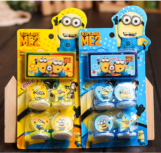 Free Shipping 4pcs Despicable Me minion stamp Toys DIY Cartoon Stamp Seal stamp lembrancinha de festa infantil gift for Children(China (Mainland))