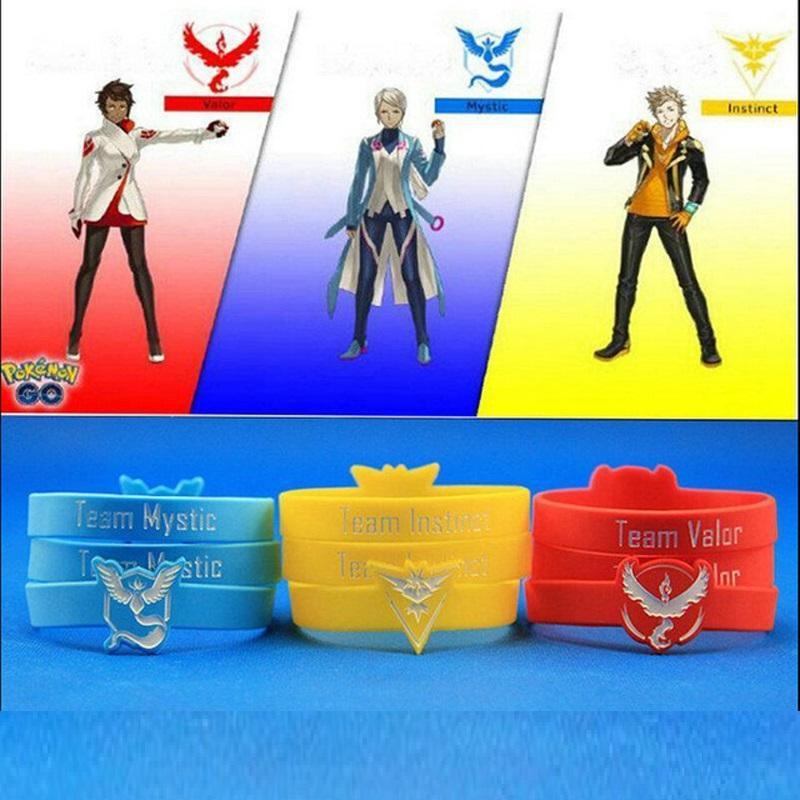 NEW Pokemon Go Team Valor Mystic Instinct Wristband Silicone Bracelets Cuff Gift(China (Mainland))