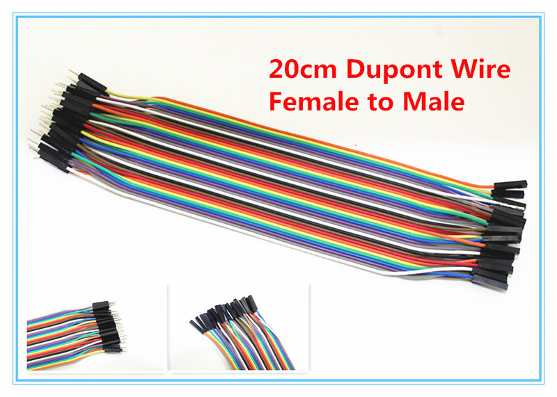 Гаджет  40PCS Dupont Wire Color Jumper Breadboard Cable 2.54mm 1P-1P Male to Female 20cm None Электронные компоненты и материалы
