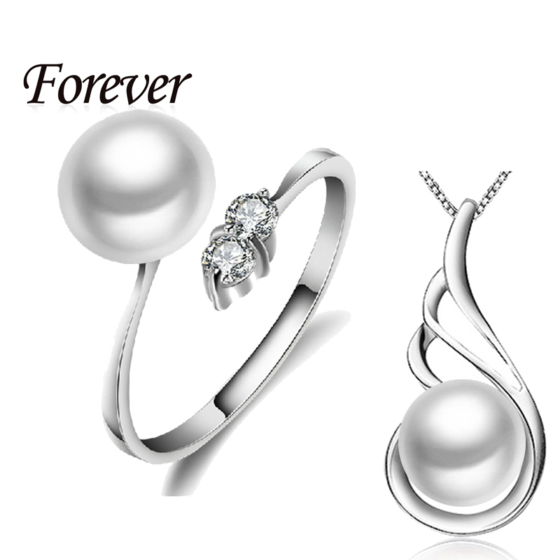 Only 30 Set Discount Price Jewelry Sets Pearl Ring & Pendant Necklace Women 925 sterling silver jewerly necklace/zircon rings(China (Mainland))