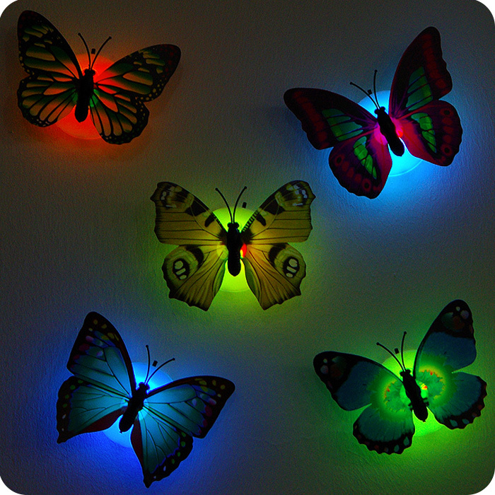 Luminous flowers, butterfly Nightlight, chuck and stickers,flowers small night lamp,wall lights,Indoor lighting,toys for childre(China (Mainland))