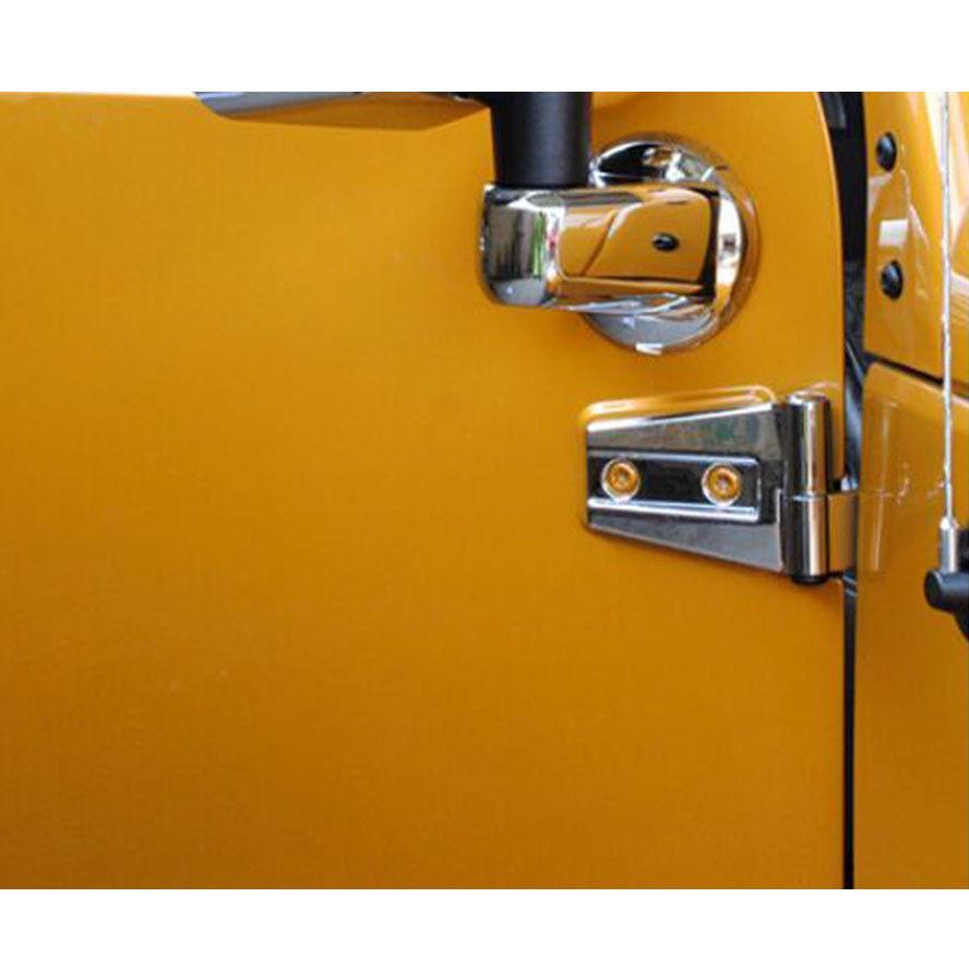 Car 4x Silver Hood or Door Hinges Set Trim Covers For JK Wrangler 2Doors 07+(China (Mainland))