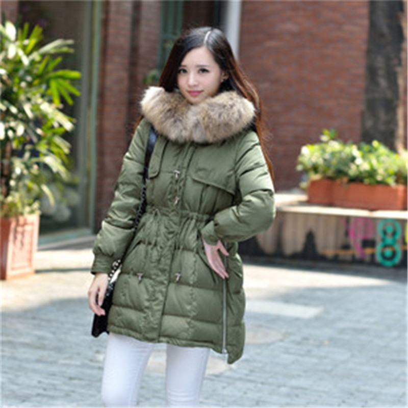 Women's Winter Jacket Coats 2015 Plus Size Long Parkas Waddded Warm Outwear Hood Large Faux Fur Collar LJ3433