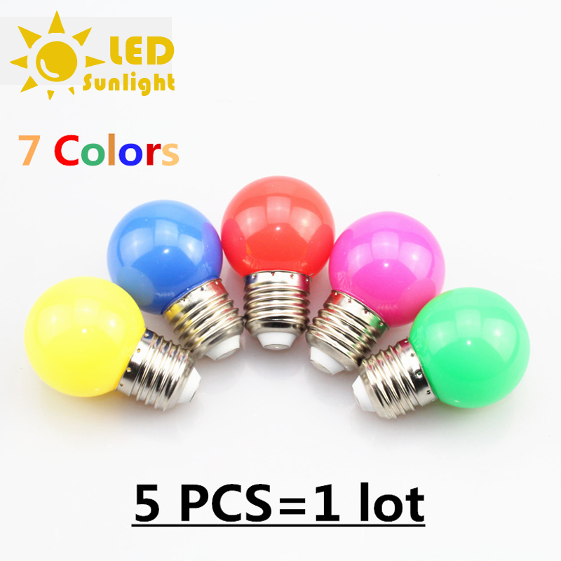 E27 Red blue green yellow warm white pink LED bubble ball bulb lamp 1W 3W 220v color light lamp Colourful 5 pcs / lot(China (Mainland))