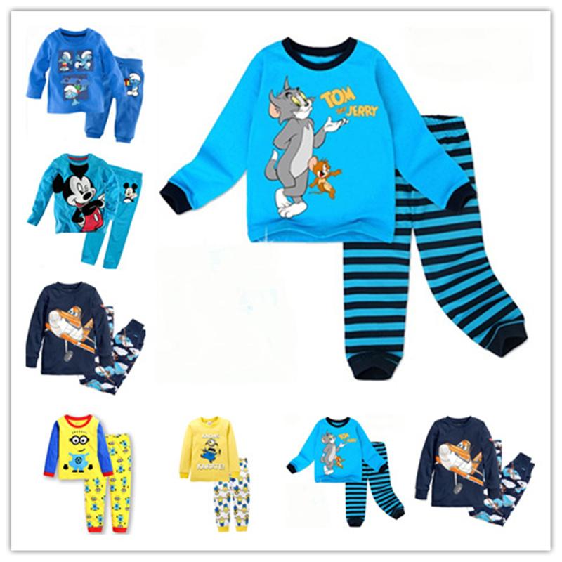 2016 spring boys sets children kids clothing girls clothes suits long sleeve pijamas cartoon cotton fashion baby pajamas - La My Store store