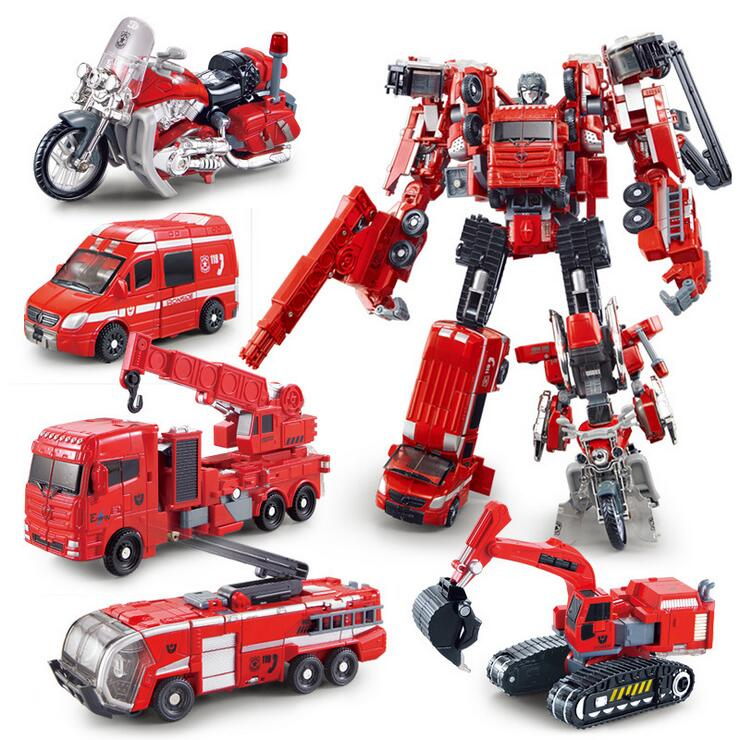 Deformation Movie 4 Robots Action Figure Toys ABS&Alloy Ambulance/Crane/Fire engine/ Excavator/Motorcycle Model(China (Mainland))
