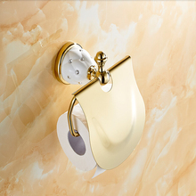 Free Shipping Wholesale And Retail Diamond Ceramic Base Golden Brass Bathroom Toilet Paper Holder Wall Mounted / Cover(China (Mainland))