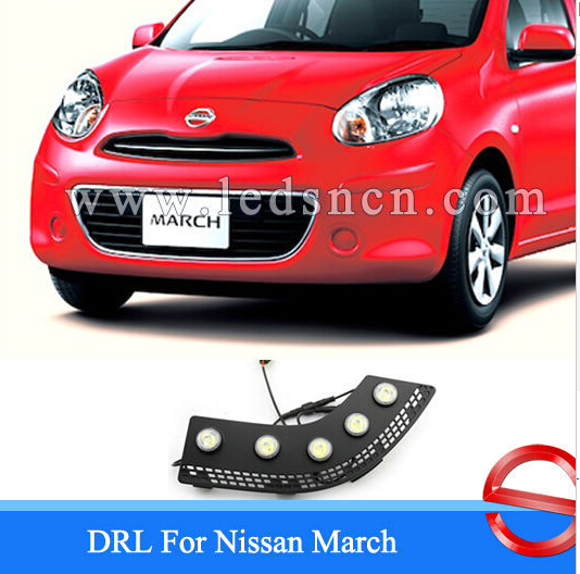 Free Shipping!2009-2013 N-.iss.an Micra MARCH Daytime Running Light Fog light !High Quality LED DRL 12V 6000k~7000k 2pcs/set