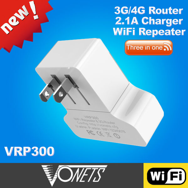 VONETS VRP300 2.1A USB port 3G/4G Router and 300Mbps WiFi Repeater(China (Mainland))