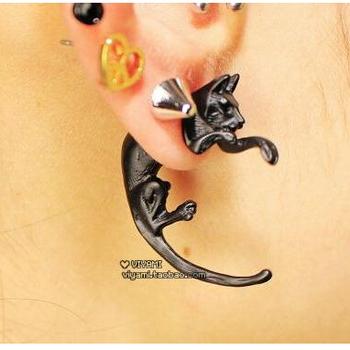 E797 Brincos Clip Earing boucle d'oreille Bijoux Black Cat Ear Cuff Earrings For Women Wedding Earings Girl Jewelry Wholesale