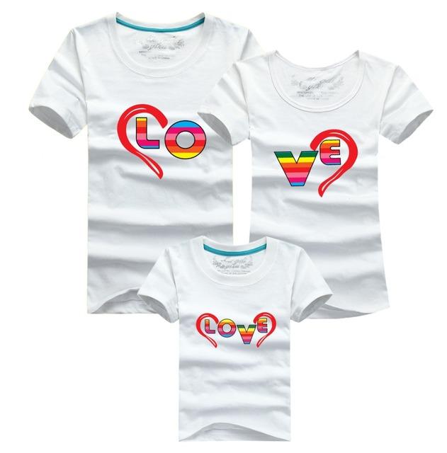 Pseewe семьи соответствующие OutfitsКороткий рукав хлопок футболка семья взгляд мама ...