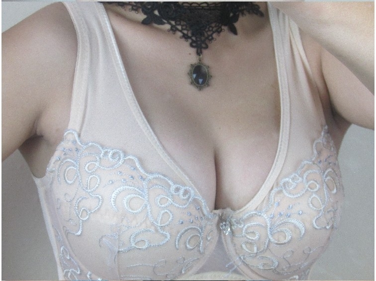 Sexy mesh cotton lining up plunge bra with mesh lace bralette bras underwire blue dark black bra gorge 100 95 90 85 C D E F 3389(China (Mainland))