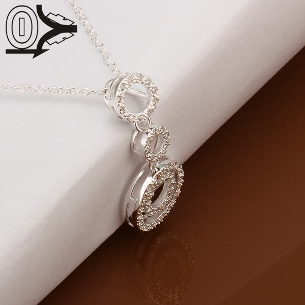 Free Shipping!!Wholesale Silver Plated Necklace & Pendant,Fashion Jewelry Accessories,3 Circles With Stone Silver Necklaces(China (Mainland))