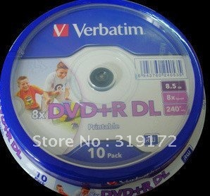 Free shipping, Verbatim Printable DVD+R DL, 9D, 8.5G, 10pcs/lot, Double Layer Blank DVD Disks, 8X, Retail and Wholesales