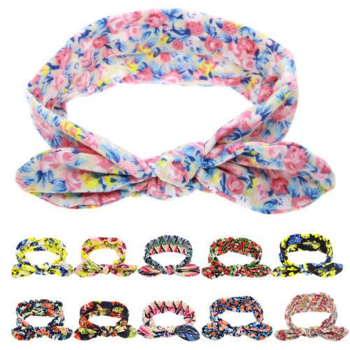 1 х новых девочек для печать цветочные кроличьи уши Hairband тюрбан узел повязка ...