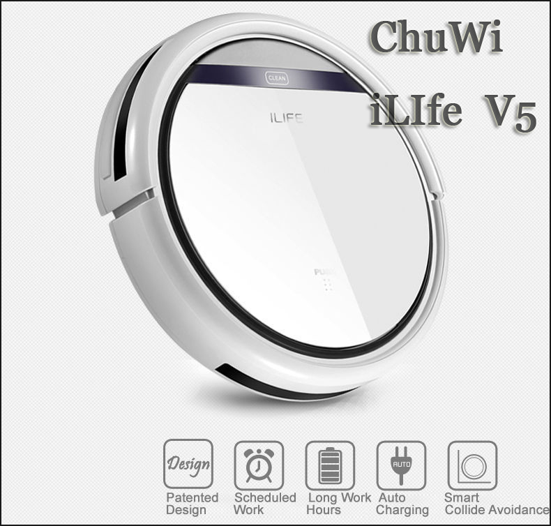 CHUWI iLife V5 Intelligent Robot Vacuum Cleaner for Home Slim HEPA Filter Cliff Sensor Remote control Self Charge DHL Free(China (Mainland))