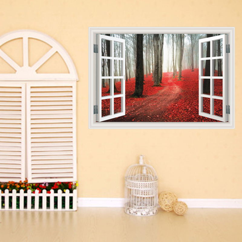 Creative Home Decor 3D Fake Window Wall Stickers Red Maple Grove Pattern For Living Room Mural Art Decal Wallpaper 60*90 CM