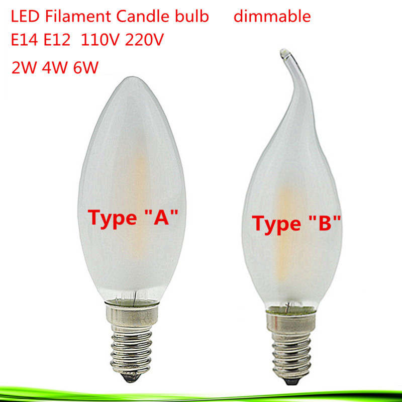 1X High Lumen Dimmable E14 E12 110V 220V 2W/4W/6W LED Filament Candle Bulb Retro Edison LED Frosted glass Lamp Cold/Warm White(China (Mainland))