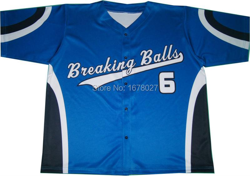 Custom Team Name Sapphire Blue Baseball Shirts With Black White Stripes #6(China (Mainland))