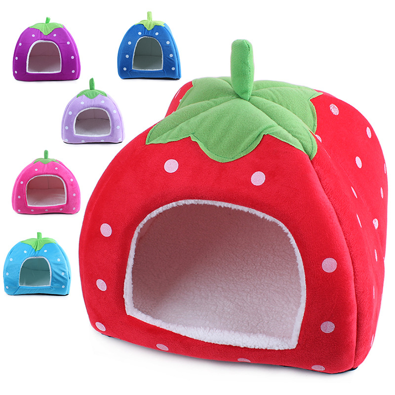 Foldable Soft warm strawberry cave dog bed cheap cute small dog cat pet House kennel nest dog Fleece cat tent bed(China (Mainland))
