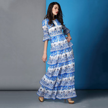Autumn 2015 Fashion Blue And White Porcelain Printed Maxi Dress Flare Sleeve Long Design Ladies Layered Dress(China (Mainland))