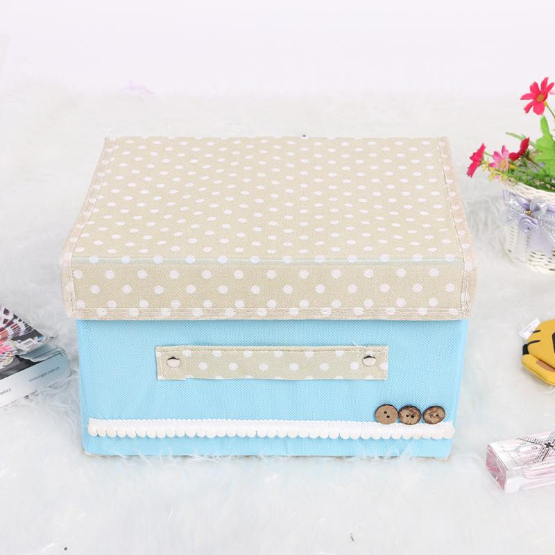 Small Garden Non-Woven Fabric Button Clutter Storage Women Cosmetic Toiletry Box Container Blue(China (Mainland))