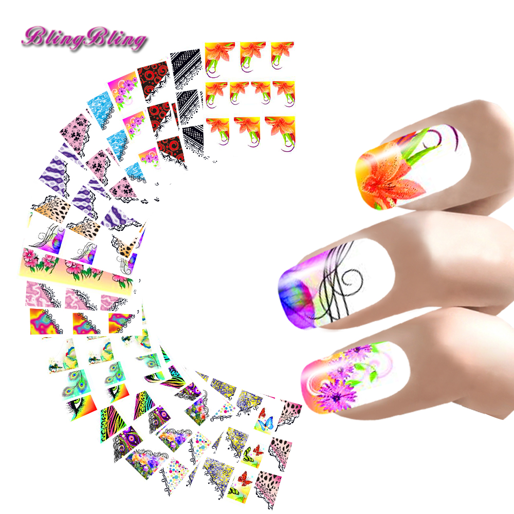 22 Style Nail Art Sticker French Manicure Water Decals Half Nail WrapsFlower Butterfly Peacock Leopard Pattern For Nails Girls(China (Mainland))