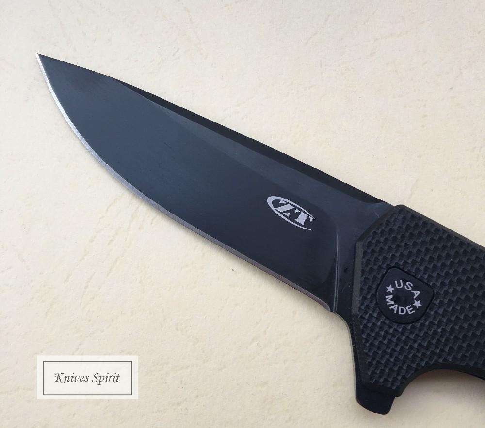 Buy Newest ZT 0804 Black Titanium Plating Folding Knives Ball Bearing G10 Handle Camping Hunting Pocket Knife Portable EDC Tools cheap